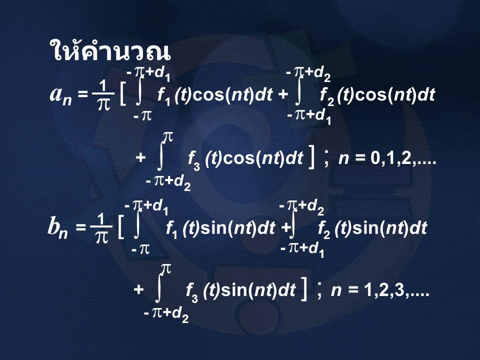 ∫ ∫ ∫ ∫ ให้คำนวณ a = [ f (t)cos(nt)dt + f (t)cos(nt)dt